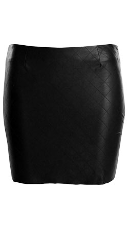 Stitched Detailing Womens Leather Skirt