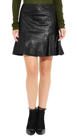 Mini Leather Skirt with Flounced Side Panels