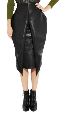 Artfully Folded Womens Leather Skirt