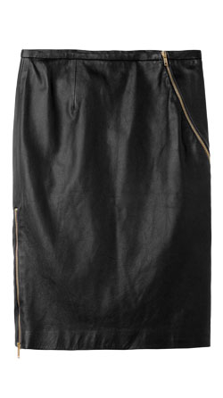 Zipper Detailing Womens Leather Skirt