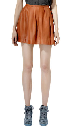 Womens Leather Skirt with Classic Pleats