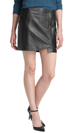Angled Hem and Lined Leather Skirt
