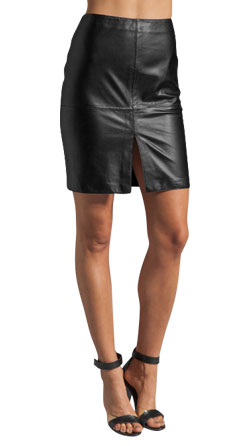 Front Vented Cult Leather Skirt