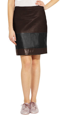 Multicolor Sporty Leather Skirt