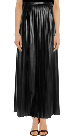 Full Length Pleated Maxi Leather Skirt