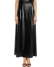 Shop online full length pleated maxi leather skirt