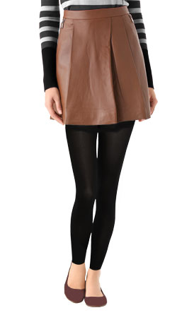 Sweet Pleated Short Leather Skirt