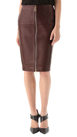 Front Two-way Zip Leather Pencil Skirt