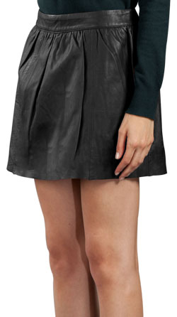 High Seam and Kinky Leather Mini Skirt