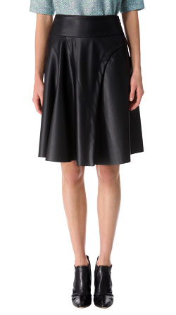 Flare Shutter Pleat Leather Skirt
