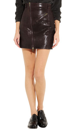 Contoured Leather Mini Skirt