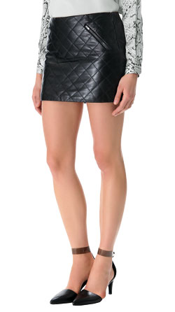 Classy Quilted Leather Mini Skirt