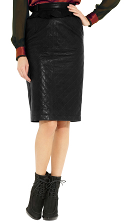 Swank Pencil Leather Skirt