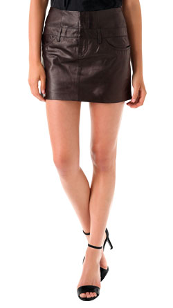 Snappy Leather Mini Skirt