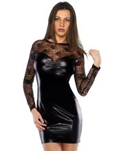 Hot Leather Dress with Laced Finishing