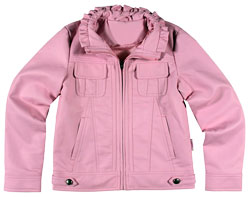 Ruffle-Neck Leather Jacket for Kids