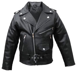 Motorcycle Zipper Leather Jacket for kids