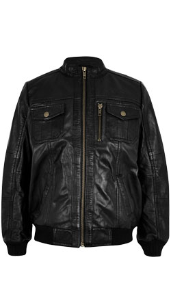 Lambskin Leather Boys Jacket with Stand Collar