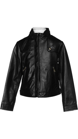 Boys Leather Jacket with Concealed Zip Closure